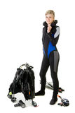 Before dive. Woman checking her dive gear Stock Photography