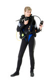 Before dive. Woman checking her dive gear Stock Images
