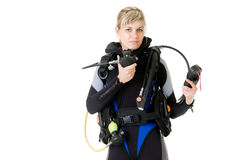 Before dive. Woman checking her dive gear Royalty Free Stock Photos