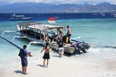 Dive Boat auf Strand von Gili Trawangan Lizenzfreies Stockbild