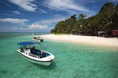 Dive Boat By The Beach. Dive Boat Anchoring By The Island Beach Royalty Free Stock Image