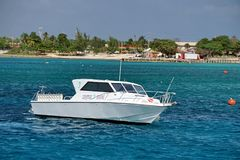Dive boat in the harbor on Grand Cayman. Cayman Islands royalty free stock images
