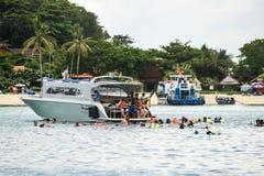 Dive boat leaving Ao Tonsai, on Koh Phi Phi Don. boat diving Koh Phi Phi royalty free stock image