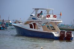 Dive boat in Puerto Lopez stock images