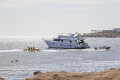 Dive boat Rixos Divers in the bay Stock Photo