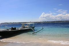 Dive Boat on the shoreline of Gili Islands Royalty Free Stock Images