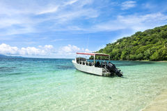 Dive boat in tropical bay Royalty Free Stock Photo