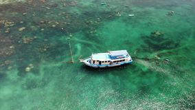Dive boats with equipment in sea. Motor dive boats with equipment and tanks floating on blue sea water near Koh Tao stock footage