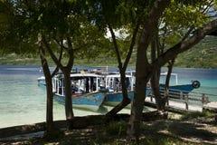 Dive Boats på den Menjangan ön Arkivfoto