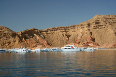Dive Boats Red Sea. Dive boats moored at a dive site in the Red Sea, Egypt Royalty Free Stock Photography