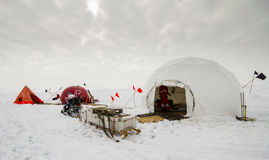 Dive camp of a polar research expedition. Polar research dive camp over a drifting ice floe in Antarctica Stock Image