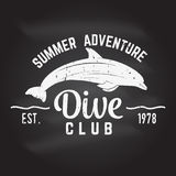 Dive club Summer adventure. Dive club. Vector illustration on the chalkboard. Concept for shirt or logo, print, stamp or tee Royalty Free Stock Photos
