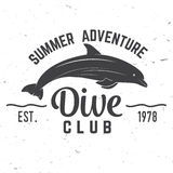 Dive club Summer adventure. Vector illustration. Concept for shirt or logo, print, stamp or tee. Vintage typography design with dolphin silhouette Royalty Free Stock Photography