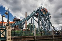 The dive coaster The Baron at the amusement park Efteling in the. Kaatsheuvel, Netherlands, August 19 , 2017: The dive coaster The Baron at the amusement park stock photography