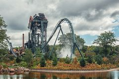 The dive coaster The Baron at the amusement park Efteling in the royalty free stock photography