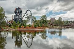 The dive coaster The Baron at the amusement park Efteling in the. Kaatsheuvel, Netherlands, August 19 , 2017: The dive coaster The Baron at the amusement park royalty free stock photo
