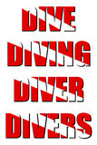 Dive Diving Diver Divers. Vector isolated lettering with words Dive, Diving, Diver and Divers with mask from official diving red flag with white stripe. You can Royalty Free Stock Images