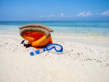 Dive equipment on white sand beach Stock Photo