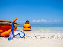 Dive equipment on white sand beach Royalty Free Stock Photos
