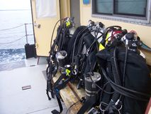 Dive Gear. Custom-built mixed gas dive gear onboard research vessel Royalty Free Stock Photography
