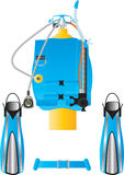 Dive Gear. Detailed illustration of Scuba Diving Equipment Stock Image