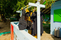 Dive gear drying in the sun Royalty Free Stock Photo
