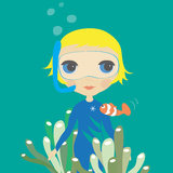Dive Girl. Nice illustration for your awesome work Royalty Free Stock Photo