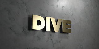 Dive - Gold sign mounted on glossy marble wall  - 3D rendered royalty free stock illustration Stock Image