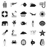 Dive icons set, simple style. Dive icons set. Simple set of 25 dive vector icons for web isolated on white background Royalty Free Stock Image