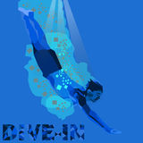 Dive In. This is an image a person who do diving in vector style and blue color Royalty Free Stock Images