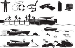 Dive. Man diving icon set - Illustration Royalty Free Stock Photography