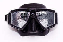 Dive mask. A black dive mask with water on it Royalty Free Stock Images
