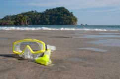 Dive Mask on Beach stock photo
