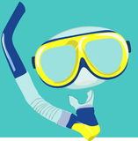 Dive mask and snorkel for professionals. Vector illustration Stock Image