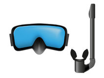 Dive mask and snorkel. Vector objects on white background Royalty Free Stock Photo
