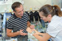 At the dive shop. Dive royalty free stock image