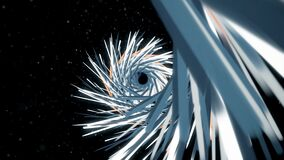Dive into swirling tunnel. Animation. Tunnel of sharp lines twists and plunges into depths on black background. Tunnel