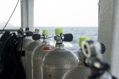 Dive Tanks. Diving cylinders on the boat - selective focus Royalty Free Stock Image