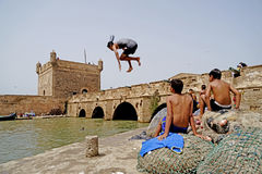 A dive in to the sea of Essaouira royalty free stock photography