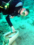 Dive with toilet. Scuba diver on Yolands wreck with toilet Royalty Free Stock Photo