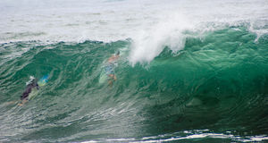 Dive Under Big Surf Wave. Surfers holding surfboards dive under large surf wave as it starts to break stock photography