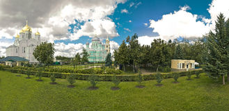 Diveevsky monastery. Panoramic view from the grooves. Royalty Free Stock Images
