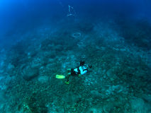Divemaster Blowing Bubble Rings Stock Photo