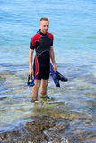 Diver. A young diver, before snorkeling in the sea Royalty Free Stock Image