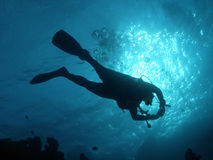 Diver. Silhouette in the red sea Stock Photography