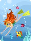 Diver. Vector Illustration of a cute diver-girl Stock Photography