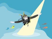 Diver. Scuba diver in blue ocean Stock Illustration