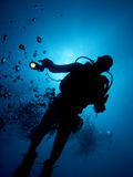 Diver. Underwater diver in back-light with his light on (and bubbles stock photography