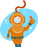 Diver. Cartoon character series - old diver Royalty Free Stock Photography