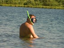 Diver. Falls into water Stock Photography